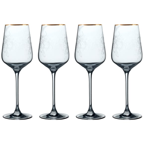 V&A The Cole Collection Set of 4 White Wine Glasses Clear