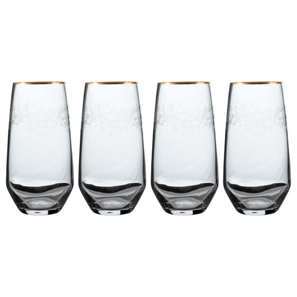V&A The Cole Collection Set of 4 Highball Glasses Clear