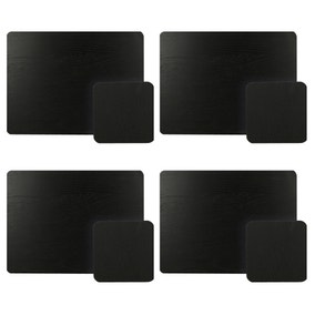 Set of 4 Black Ash Placemats and Coasters