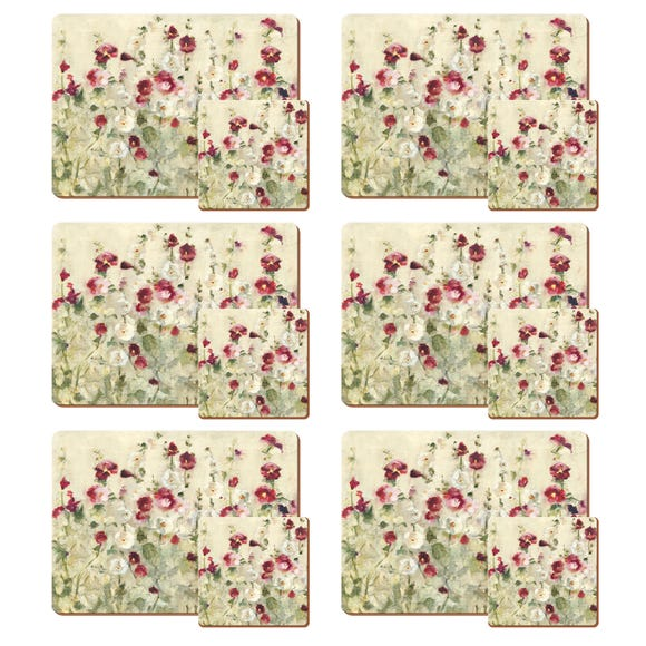 Set of 4 Wild Field Poppies Placemats and Coasters Red