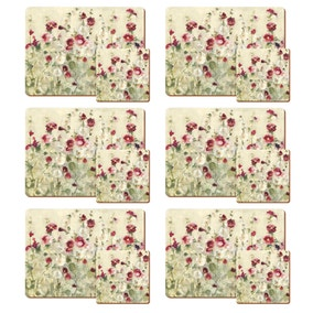 Set of 4 Wild Field Poppies Placemats and Coasters