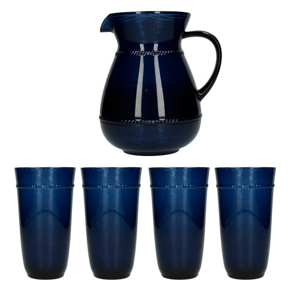 Mikasa Drift Acrylic Jug and 4 Highball Glasses Blue
