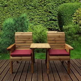 Charles Taylor 2 Seater Companion Set with Burgundy Seat Pads