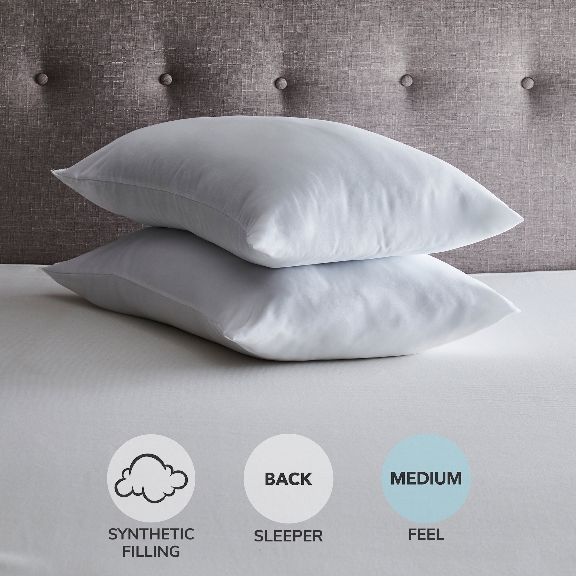 "Fogarty Fogarty Soft and Cosy Medium-Support Pillow Pair White | 74cm x 48cm (29"" x 19"")"