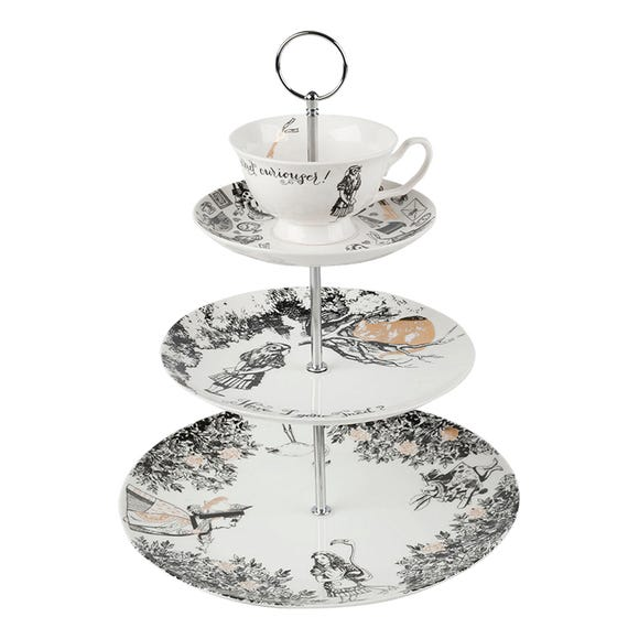 V&A Alice in Wonderland 3 Tier Cake Stand White