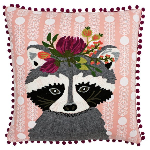 Paoletti Funky Raccoon Embroidered Cushion MultiColoured