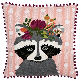 Paoletti Funky Raccoon Embroidered Cushion