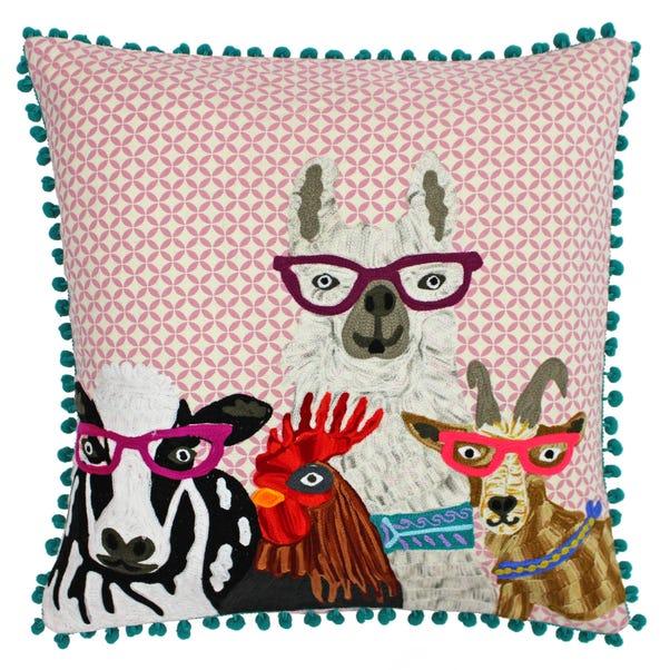 Paoletti Funky Selfie Embroidered Cushion MultiColoured
