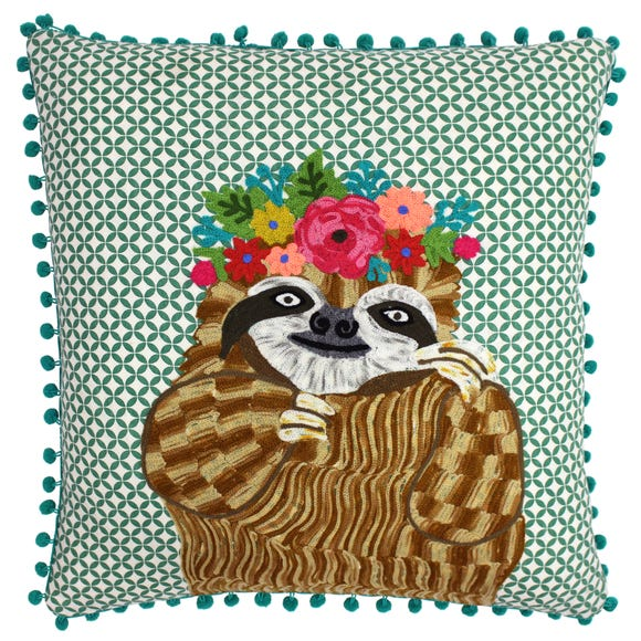 Paoletti Funky Sloth Embroidered Cushion MultiColoured