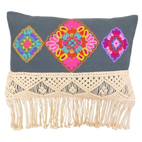 Paoletti Apache Grey Embroidered Cushion