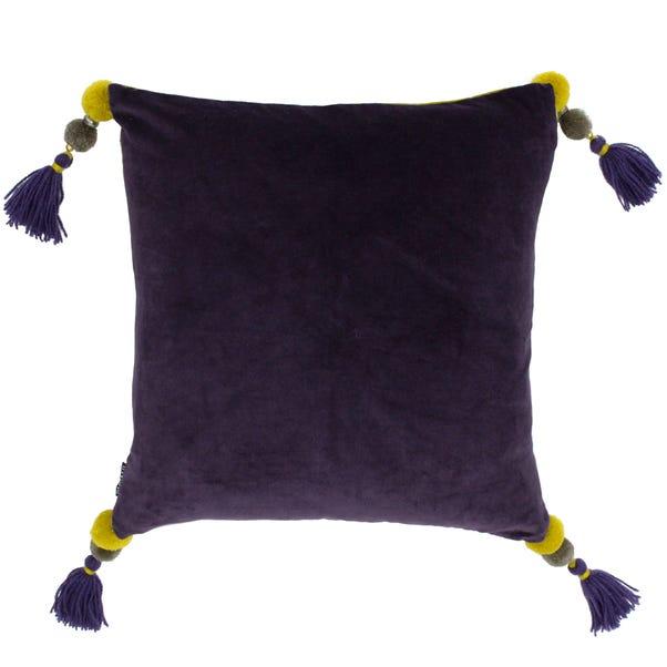 Paoletti Poonam Damson Velvet Cushion Damson (Purple)