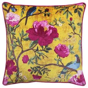 Paoletti Chinoiserie Gold Floral Cushion