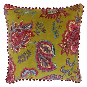 Paoletti Malisa Lemon Floral Velvet Cushion