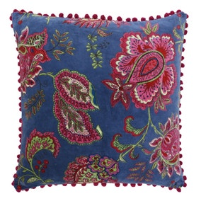 Paoletti Malisa Blue Floral Velvet Cushion