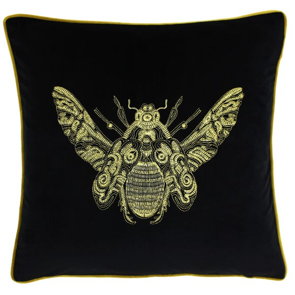 Paoletti Cerana Black Bee Velvet Cushion Black