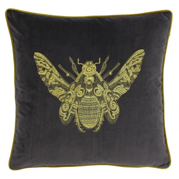 Paoletti Cerana Charcoal Bee Velvet Cushion Charcoal