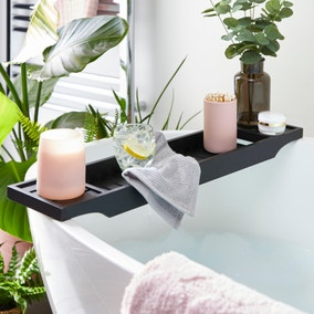 Black Bamboo Bath Rack