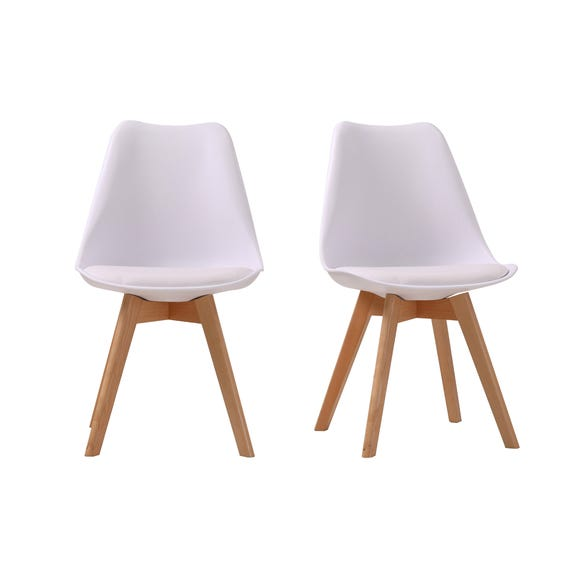 Vichy Set of 2 Dining Chairs White