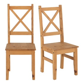 Salvador Set of 2 Dining Chairs Pine