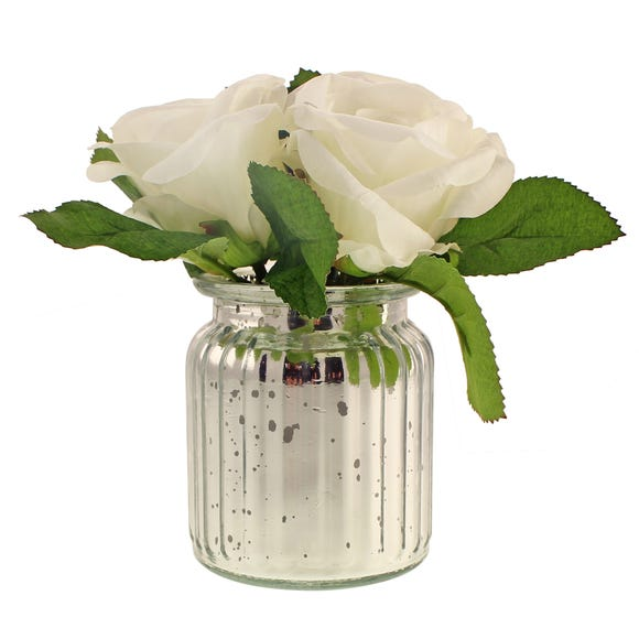 Artificial Roses White in Silver Mercury Vase 18cm White