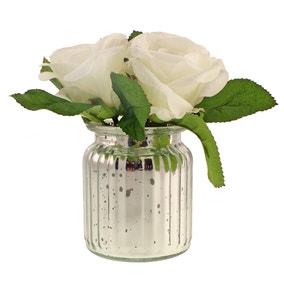 Artificial Roses White in Silver Mercury Vase 18cm