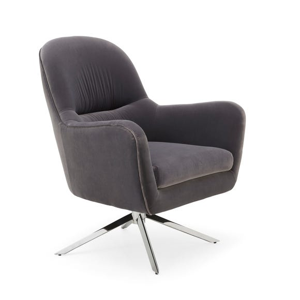 Zyla Velvet Swivel Chair - Grey Grey