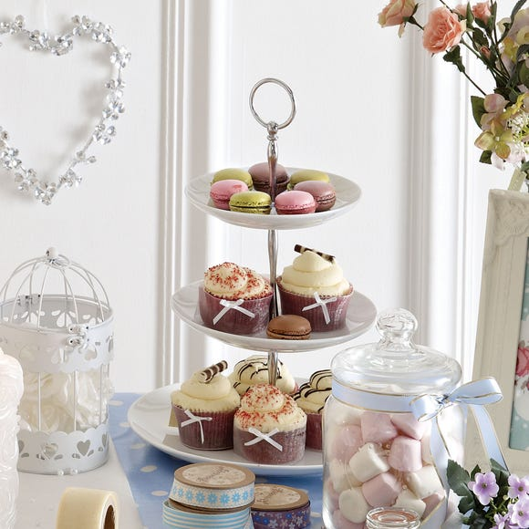 Purity 3 Tier Cake Stand White