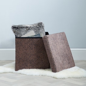 Cheetah Animal Print Foldable Cube Ottoman