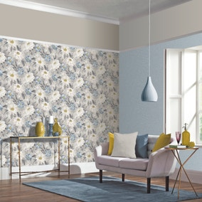 Painted Dahlia Grey Floral Wallpaper