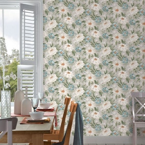 Painted Dahlia Green Floral Wallpaper