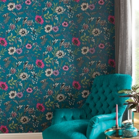 Botanical Songbird Teal Wallpaper