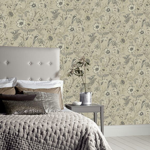 Botanical Songbird Natural Wallpaper Natural