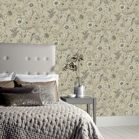 Botanical Songbird Natural Wallpaper