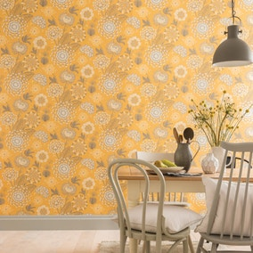 Vintage Bloom Mustard Floral Wallpaper