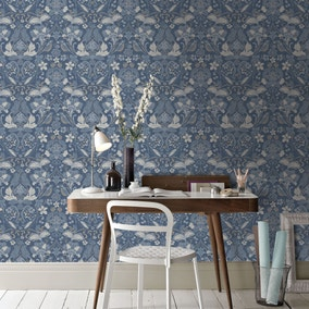Folk Floral Blue Wallpaper