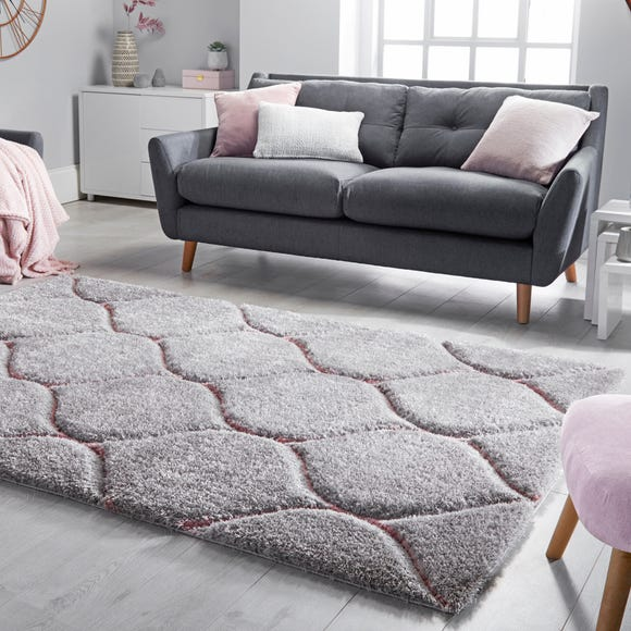 Sirocca Shaggy Geometric Rug Pink Blush undefined
