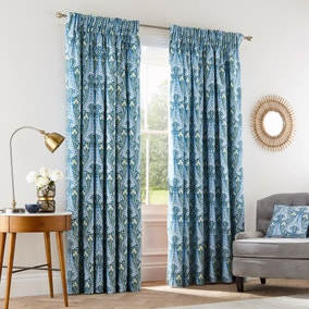 V&A Alyssum Blue Floral Pencil Pleat Curtains