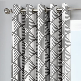 Brooklyn Grey Geo Eyelet Curtains