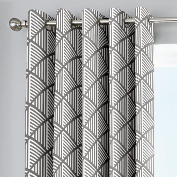 Brooklyn Grey Geometric Eyelet Curtains Grey undefined
