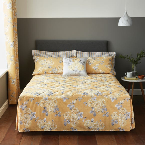 Ashbourne Floral Fitted Bedspread Ochre Ochre (Yellow) undefined