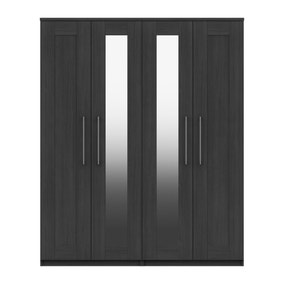 Ethan Graphite 4 Door Wardrobe with Mirrors