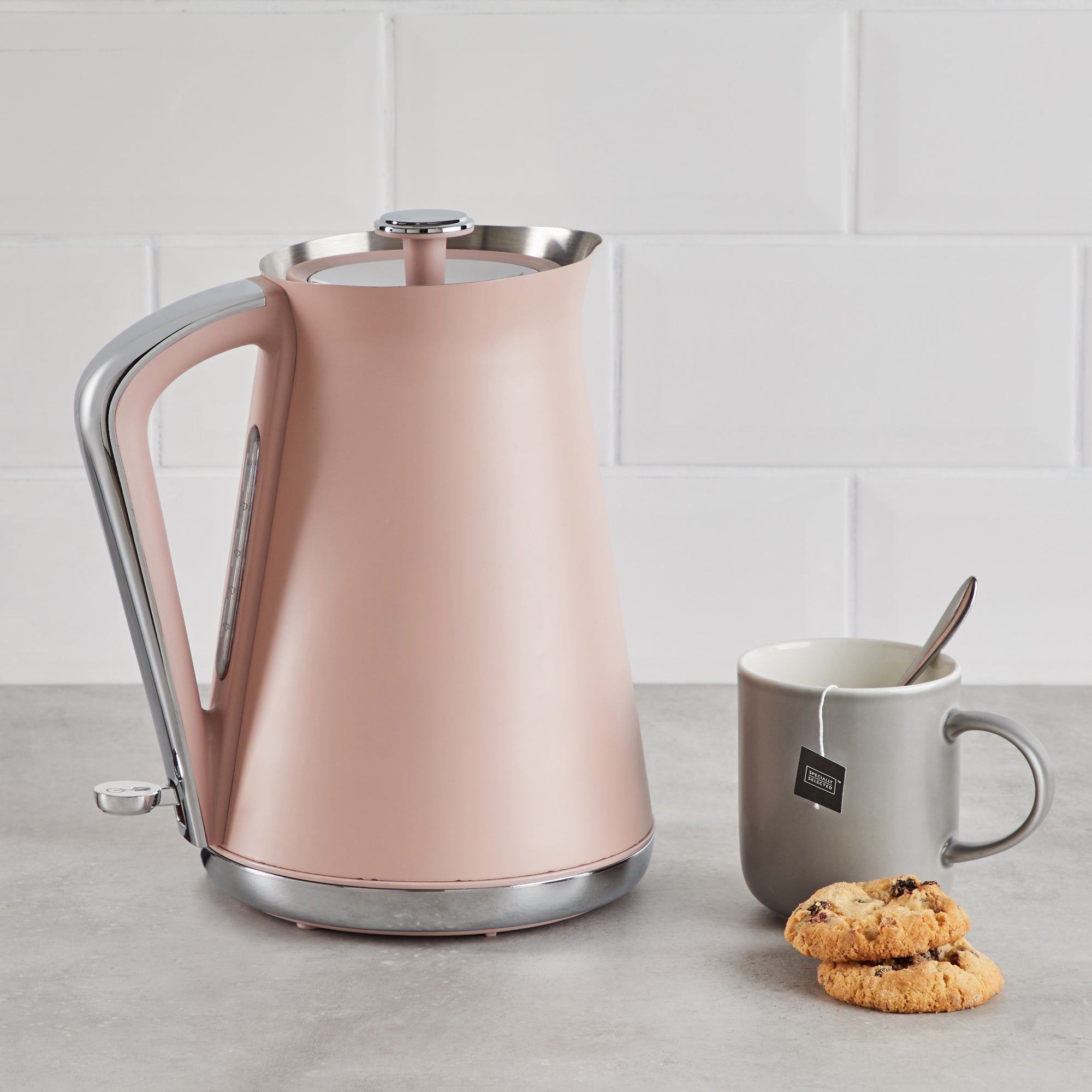 Click to view product details and reviews for Contemporary 17l 3kw Blush Pink Jug Kettle Pink Silver And Grey.