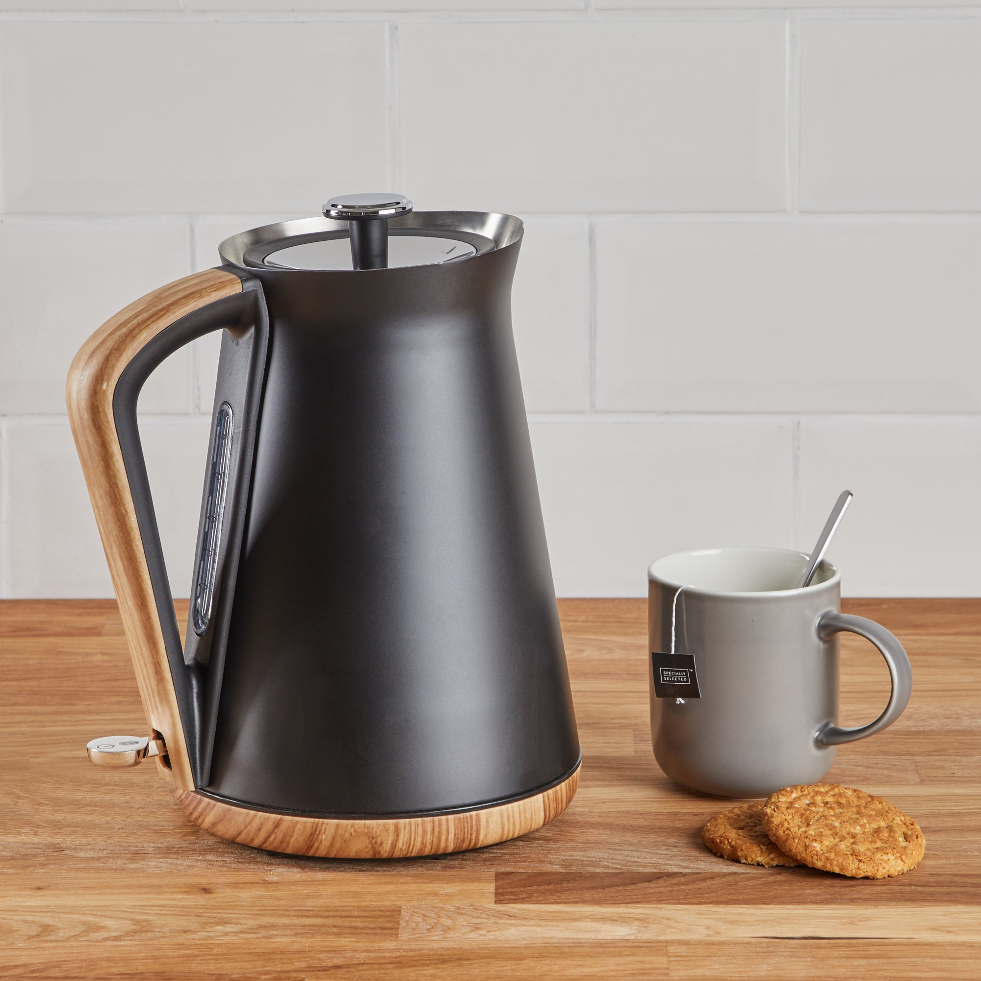 Click to view product details and reviews for Contemporary 17l 3kw Matt Black Jug Kettle Black And Brown.