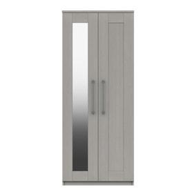 Ethan Light Grey 2 Door Wardrobe with Mirror