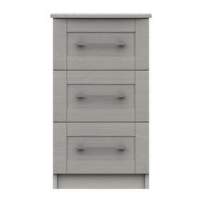 Ethan Light Grey 3 Drawer Bedside