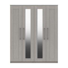 Ethan Light Grey 4 Door Wardrobe with Mirrors
