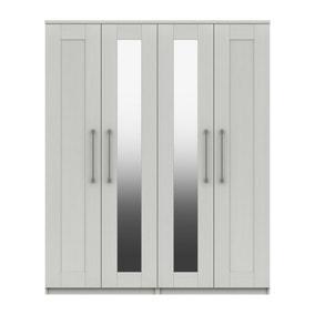 Ethan White 4 Door Wardrobe with Mirrors