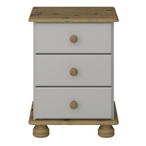 Colburn Grey 3 Drawer Bedside