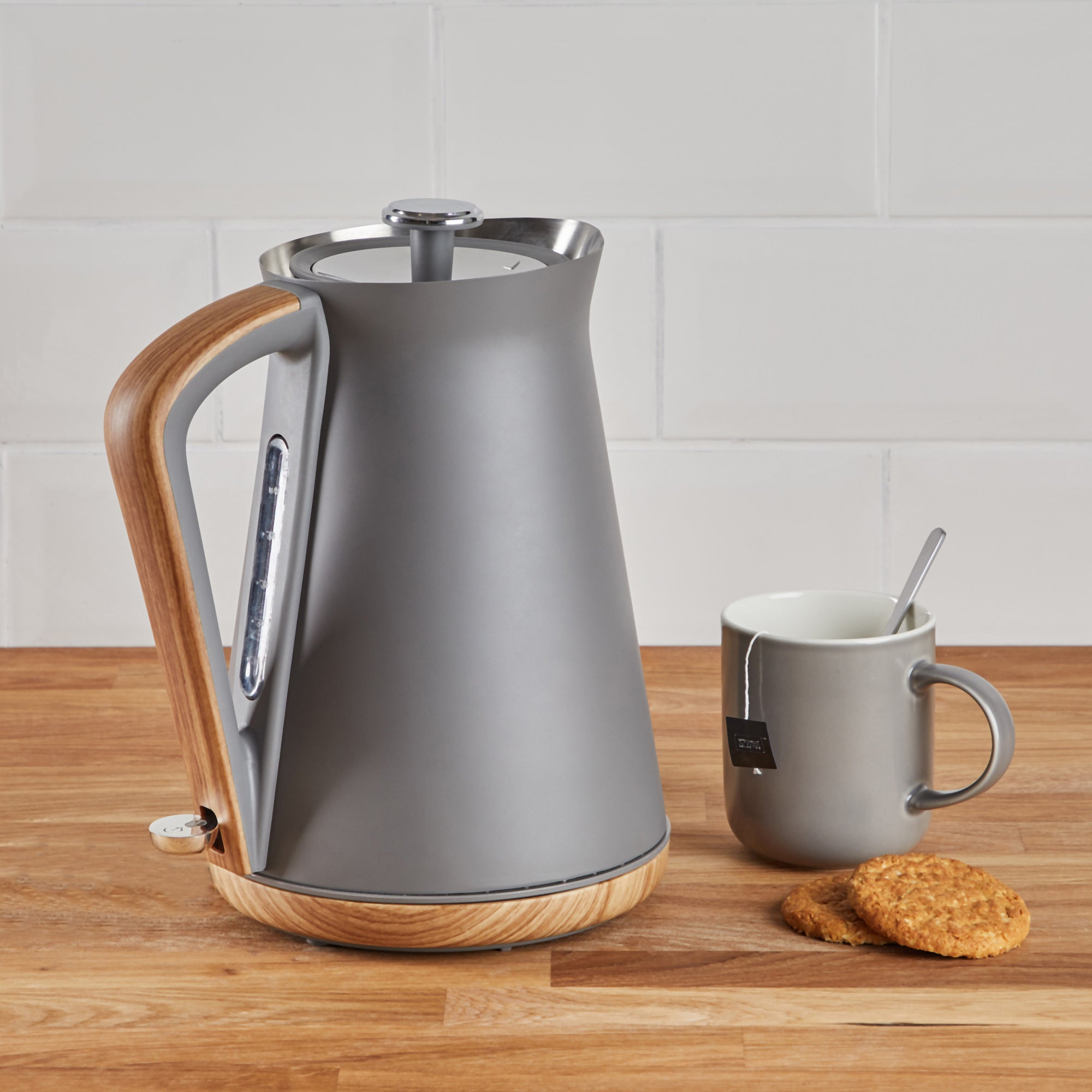 Contemporary 17l 3kw Matt Grey Jug Kettle Grey And Brown