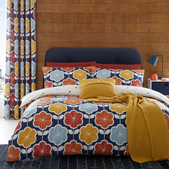 Catherine Lansfield Retro Floral Navy Reversible Duvet Cover and Pillowcase Set  undefined
